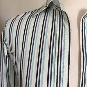 Ann Taylor Factory Striped Shirt Aqua Black White